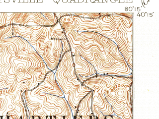 Reduced fragment of topographic map en--usgs--063k--052658--(1907)--N040-15_W080-30--N040-00_W080-15; towns and cities Wolfdale, Claysville, Green Hills