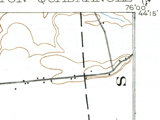 Reduced fragment of topographic map en--usgs--063k--052659--(1903)--N044-15_W076-15--N044-00_W076-00; towns and cities Chaumont, Clayton, Dexter
