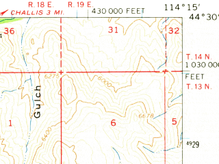 Reduced fragment of topographic map en--usgs--063k--052662--(1963)--N044-30_W114-30--N044-15_W114-15; towns and cities Clayton