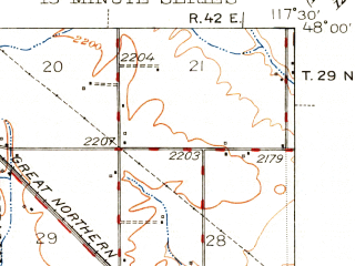 Reduced fragment of topographic map en--usgs--063k--052663--(1944)--N048-00_W117-45--N047-45_W117-30