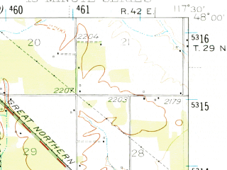 Reduced fragment of topographic map en--usgs--063k--052663--(1950)--N048-00_W117-45--N047-45_W117-30