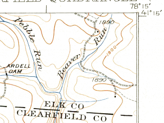 Reduced fragment of topographic map en--usgs--063k--052674--(1932)--N041-15_W078-30--N041-00_W078-15; towns and cities Clearfield, Hyde, Plymptonville