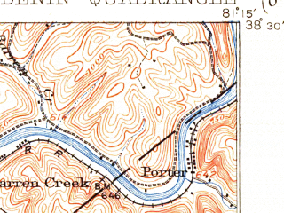 Reduced fragment of topographic map en--usgs--063k--052680--(1909)--N038-30_W081-30--N038-15_W081-15; towns and cities Clendenin, Elkview, Pinch