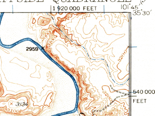 Reduced fragment of topographic map en--usgs--063k--052691--(1934)--N035-30_W102-00--N035-15_W101-45