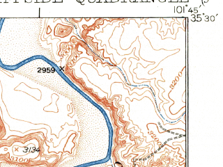 Reduced fragment of topographic map en--usgs--063k--052691--(1936)--N035-30_W102-00--N035-15_W101-45