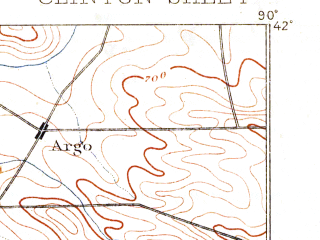 Reduced fragment of topographic map en--usgs--063k--052698--(1894)--N042-00_W090-15--N041-45_W090-00; towns and cities Clinton, Albany, Fulton, Thomson