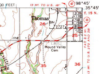 Reduced fragment of topographic map en--usgs--063k--052703--(1957)--N035-45_W099-00--N035-30_W098-45; towns and cities Clinton, Arapaho, Custer City