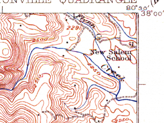 Reduced fragment of topographic map en--usgs--063k--052704--(1923)--N038-00_W080-45--N037-45_W080-30; towns and cities Rupert