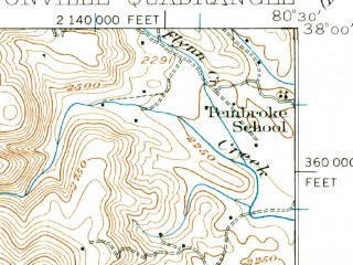 Reduced fragment of topographic map en--usgs--063k--052704--(1935)--N038-00_W080-45--N037-45_W080-30; towns and cities Rupert