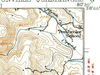 Reduced fragment of topographic map en--usgs--063k--052704--(1939)--N038-00_W080-45--N037-45_W080-30; towns and cities Rupert
