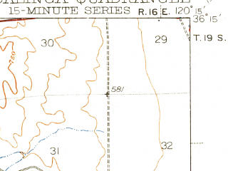 Reduced fragment of topographic map en--usgs--063k--052725--(1944)--N036-15_W120-30--N036-00_W120-15; towns and cities Coalinga