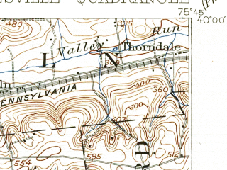 Reduced fragment of topographic map en--usgs--063k--052726--(1906)--N040-00_W076-00--N039-45_W075-45; towns and cities Coatesville, Parkesburg, South Coatesville, Thorndale