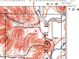 Reduced fragment of topographic map en--usgs--063k--052732--(1934)--N044-15_W092-00--N044-00_W091-45; towns and cities Cochrane, Minneiska, Rollingstone