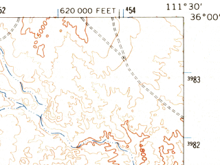 Reduced fragment of topographic map en--usgs--063k--052734--(1962)--N036-00_W111-45--N035-45_W111-30