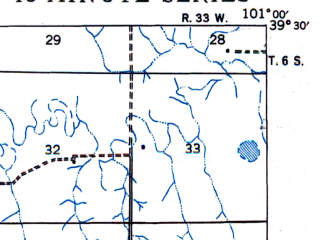 Reduced fragment of topographic map en--usgs--063k--052756--(1943)--N039-30_W101-15--N039-15_W101-00; towns and cities Colby
