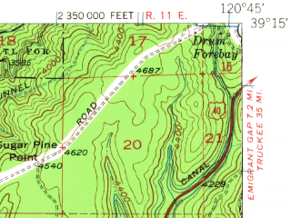 Reduced fragment of topographic map en--usgs--063k--052801--(1950)--N039-15_W121-00--N039-00_W120-45 in area of Rollins Reservoir; towns and cities Colfax