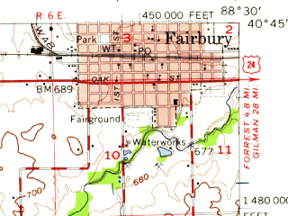 Reduced fragment of topographic map en--usgs--063k--052802--(1957)--N040-45_W088-45--N040-30_W088-30; towns and cities Fairbury, Anchor, Chenoa
