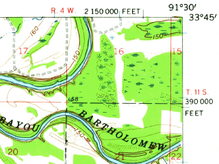 Reduced fragment of topographic map en--usgs--063k--052809--(1960)--N033-45_W091-45--N033-30_W091-30 in area of Big Lake