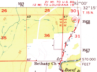 Reduced fragment of topographic map en--usgs--063k--052831--(1957)--N032-15_W092-15--N032-00_W092-00; towns and cities Columbia, Grayson, Clarks