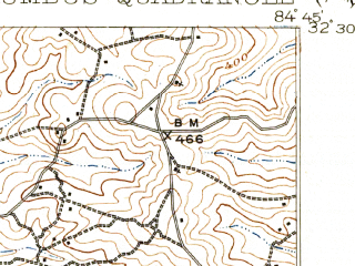 Reduced fragment of topographic map en--usgs--063k--052838--(1908)--N032-30_W085-00--N032-15_W084-45; towns and cities Fort Benning South, Cusseta