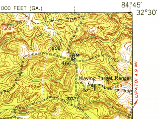 Reduced fragment of topographic map en--usgs--063k--052838--(1947)--N032-30_W085-00--N032-15_W084-45; towns and cities Fort Benning South, Cusseta