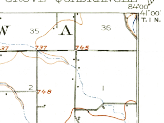 Reduced fragment of topographic map en--usgs--063k--052843--(1906)--N041-00_W084-15--N040-45_W084-00; towns and cities Cairo, Columbus Grove, Elida