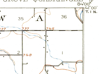 Reduced fragment of topographic map en--usgs--063k--052843--(1908)--N041-00_W084-15--N040-45_W084-00; towns and cities Cairo, Columbus Grove, Elida
