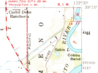Reduced fragment of topographic map en--usgs--063k--052845--(1953)--N039-15_W122-15--N039-00_W122-00; towns and cities Arbuckle, Colusa, Williams