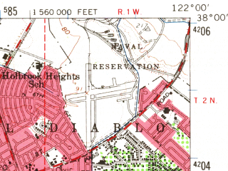 Reduced fragment of topographic map en--usgs--063k--052864--(1959)--N038-00_W122-15--N037-45_W122-00 in area of Upper San Leandro Reservoir, Briones Reservoir; towns and cities Oakland, Concord, Walnut Creek, Pleasant Hill, Lafayette
