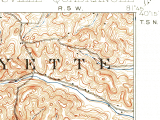 Reduced fragment of topographic map en--usgs--063k--052869--(1908)--N040-15_W082-00--N040-00_W081-45; towns and cities Adamsville, Conesville