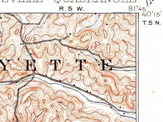 Reduced fragment of topographic map en--usgs--063k--052869--(1910)--N040-15_W082-00--N040-00_W081-45; towns and cities Adamsville, Conesville