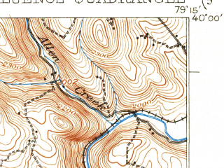 Reduced fragment of topographic map en--usgs--063k--052871--(1922)--N040-00_W079-30--N039-45_W079-15; towns and cities Ursina, Confluence, Ohiopyle