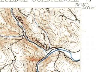 Reduced fragment of topographic map en--usgs--063k--052871--(1933)--N040-00_W079-30--N039-45_W079-15; towns and cities Confluence, Ohiopyle, Ursina
