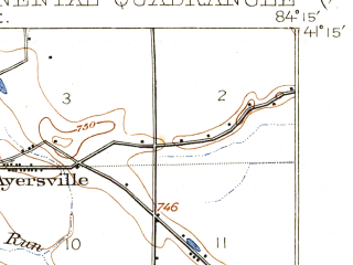 Reduced fragment of topographic map en--usgs--063k--052888--(1909)--N041-15_W084-30--N041-00_W084-15; towns and cities Continental, Dupont, Grover Hill