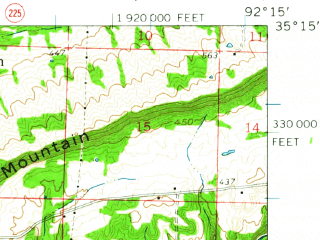 Reduced fragment of topographic map en--usgs--063k--052890--(1961)--N035-15_W092-30--N035-00_W092-15 in area of Beaver Fork Lake; towns and cities Conway, Greenbrier, Wooster