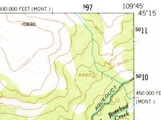Reduced fragment of topographic map en--usgs--063k--052892--(1956)--N045-15_W110-00--N045-00_W109-45
