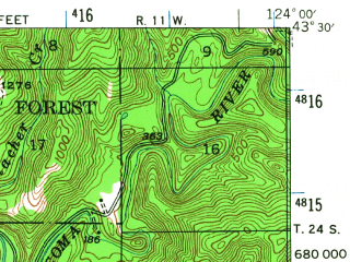 Reduced fragment of topographic map en--usgs--063k--052900--(1942)--N043-30_W124-15--N043-15_W124-00; towns and cities Coos Bay, North Bend, Bunker Hill