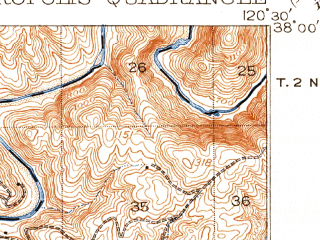 Reduced fragment of topographic map en--usgs--063k--052910--(1916)--N038-00_W120-45--N037-45_W120-30 in area of Tulloch Lake