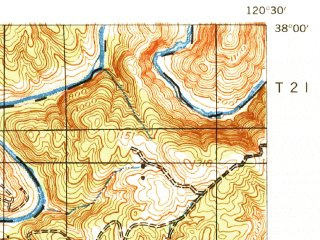 Reduced fragment of topographic map en--usgs--063k--052910--(1942)--N038-00_W120-45--N037-45_W120-30 in area of Tulloch Lake