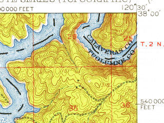 Reduced fragment of topographic map en--usgs--063k--052910--(1954)--N038-00_W120-45--N037-45_W120-30 in area of Tulloch Lake