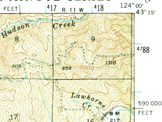 Reduced fragment of topographic map en--usgs--063k--052912--(1942)--N043-15_W124-15--N043-00_W124-00; towns and cities Coquille, Myrtle Point
