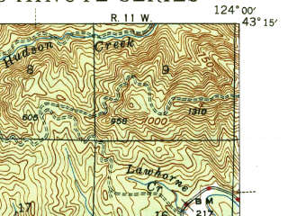 Reduced fragment of topographic map en--usgs--063k--052912--(1945)--N043-15_W124-15--N043-00_W124-00; towns and cities Coquille, Myrtle Point