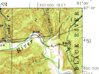Reduced fragment of topographic map en--usgs--063k--052962--(1944)--N037-30_W091-15--N037-15_W091-00; towns and cities Bunker