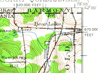 Reduced fragment of topographic map en--usgs--063k--052964--(1929)--N042-00_W079-45--N041-45_W079-30; towns and cities Corry, Bear Lake, Elgin, Spartansburg