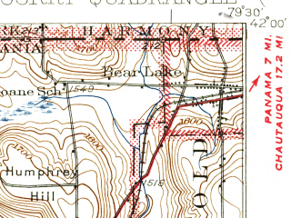 Reduced fragment of topographic map en--usgs--063k--052964--(1932)--N042-00_W079-45--N041-45_W079-30; towns and cities Corry, Bear Lake, Elgin, Spartansburg