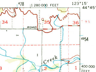 Reduced fragment of topographic map en--usgs--063k--052971--(1956)--N044-45_W123-30--N044-30_W123-15; towns and cities Corvallis, Philomath
