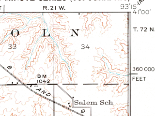 Reduced fragment of topographic map en--usgs--063k--052973--(1934)--N041-00_W093-30--N040-45_W093-15; towns and cities Corydon, Derby, Humeston