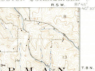 Reduced fragment of topographic map en--usgs--063k--052974--(1913)--N040-30_W082-00--N040-15_W081-45; towns and cities Coshocton, Killbuck, West Lafayette