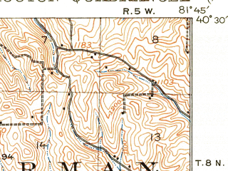 Reduced fragment of topographic map en--usgs--063k--052974--(1915)--N040-30_W082-00--N040-15_W081-45; towns and cities Coshocton, Killbuck, West Lafayette