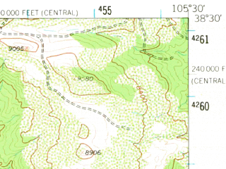 Reduced fragment of topographic map en--usgs--063k--052978--(1959)--N038-30_W105-45--N038-15_W105-30